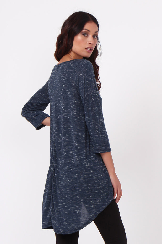 SN0386-NAVY HI-LO TUNIC TOP view 3