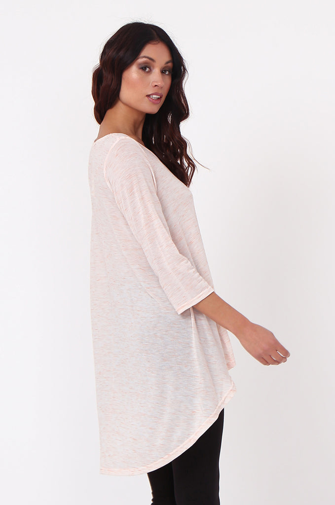 SN0386-PINK HI-LO TUNIC TOP view 2