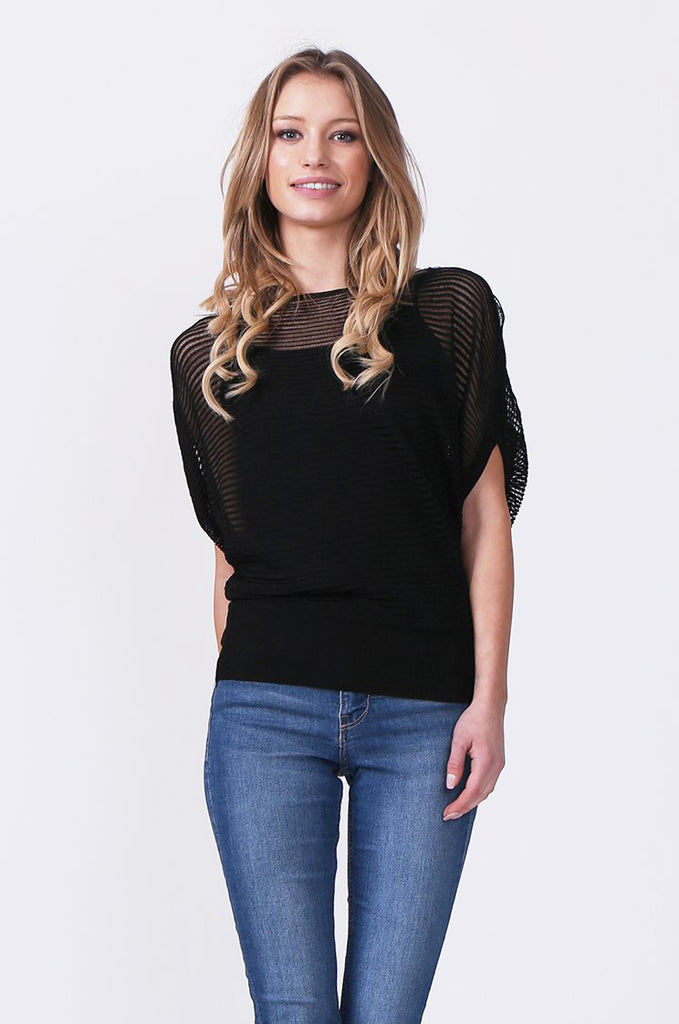 SN0392-BLACK BATWING KNIT LAYERED TOP view main view