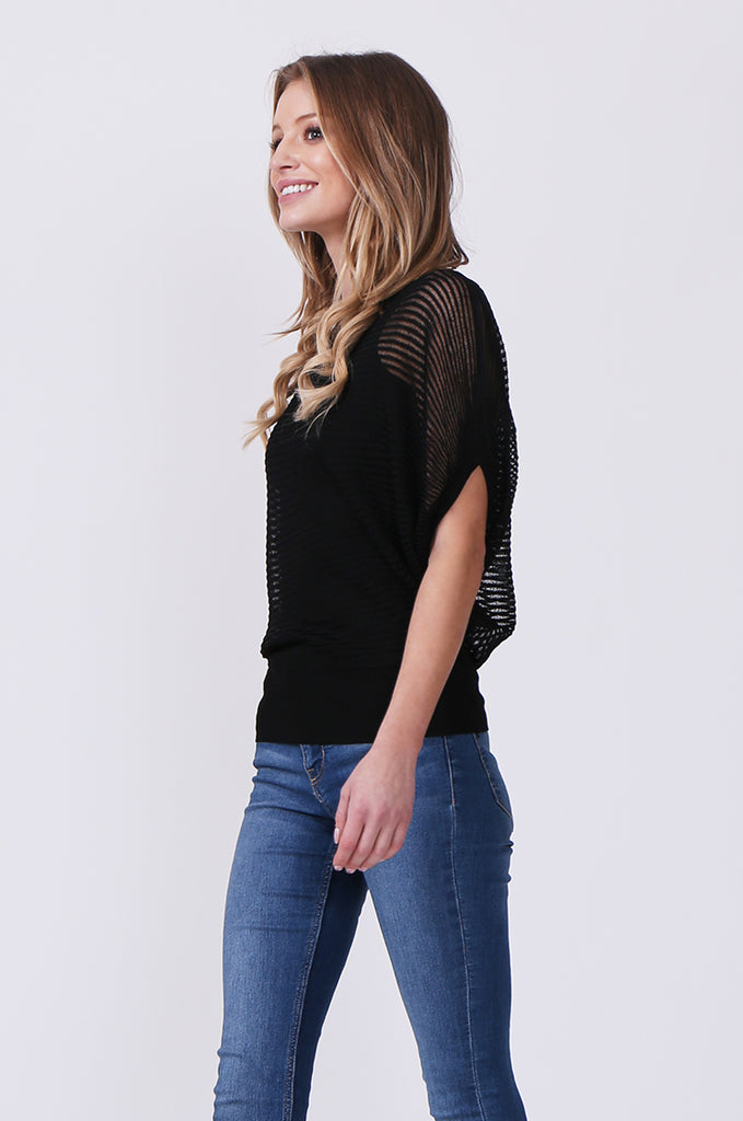 SN0392-BLACK BATWING KNIT LAYERED TOP view 2
