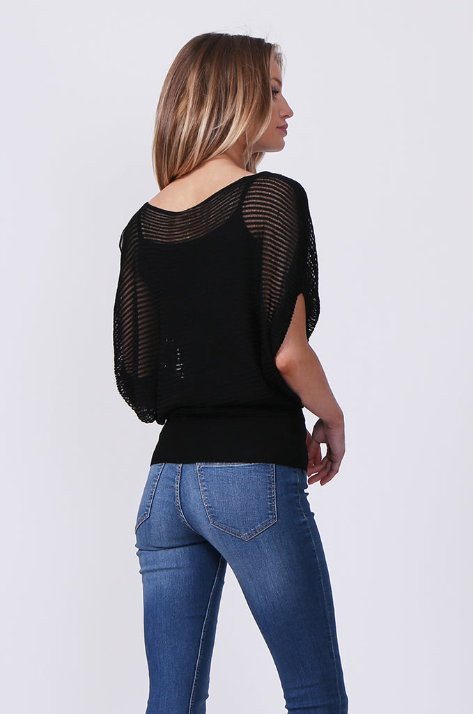 SN0392-BLACK BATWING KNIT LAYERED TOP view 3