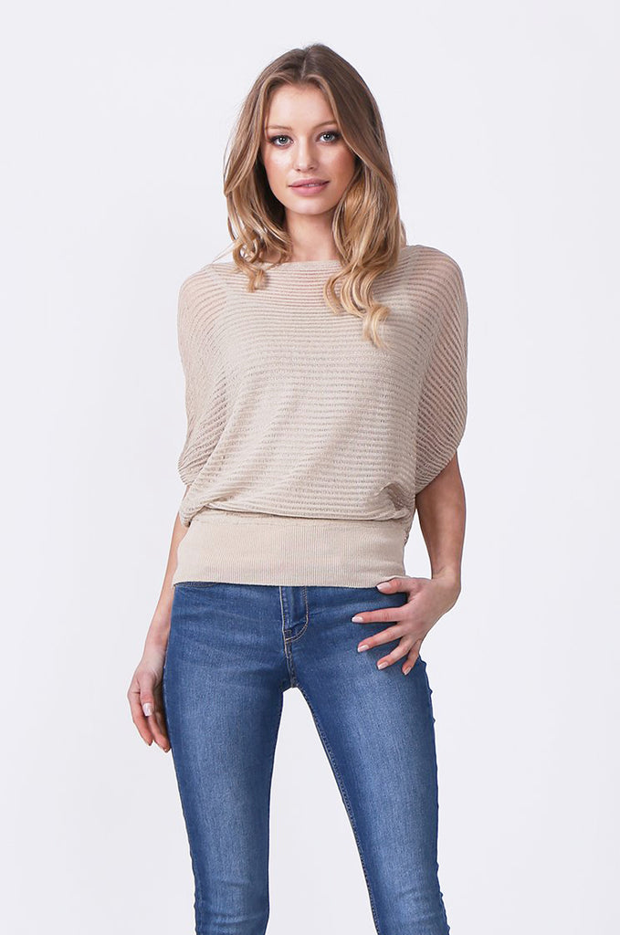 SN0392-STONE BATWING KNIT LAYERED TOP
