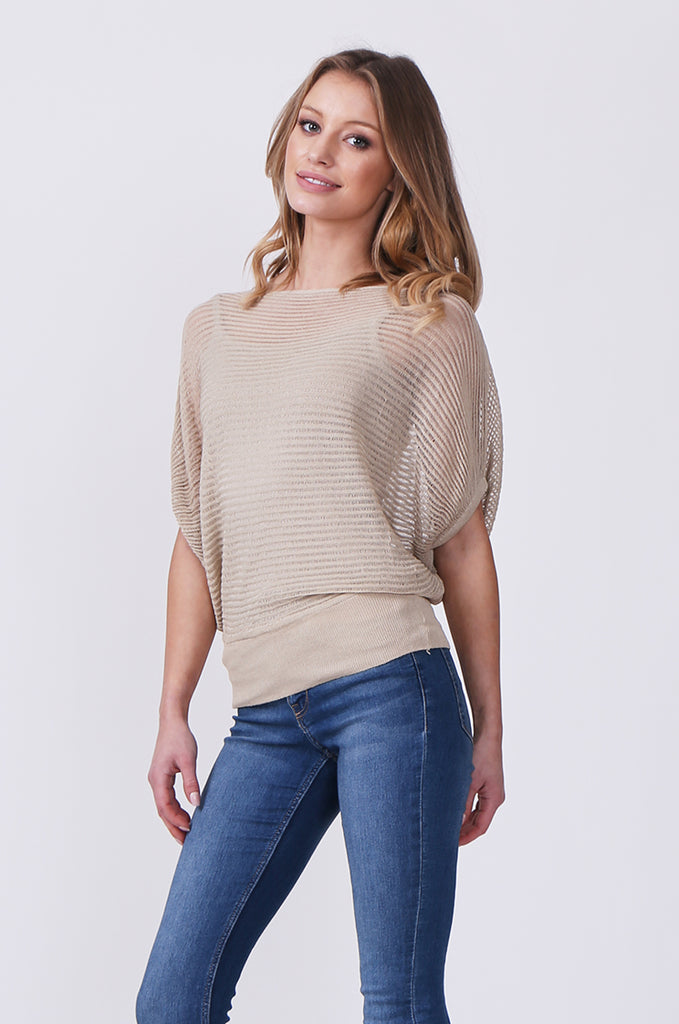 SN0392-STONE BATWING KNIT LAYERED TOP view 2