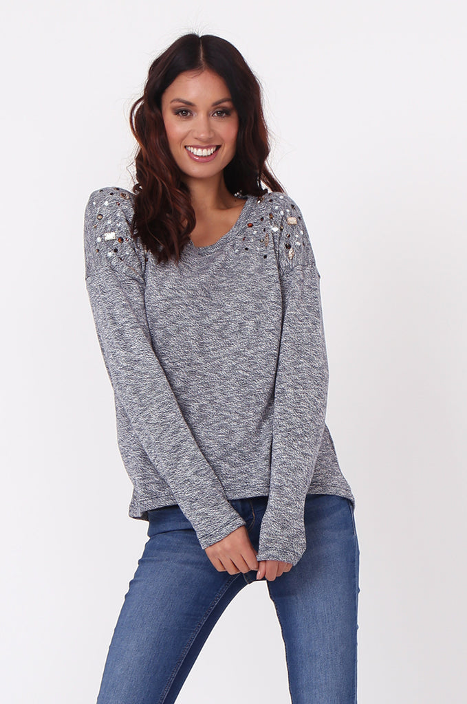 SN0391-NAVY RHINESTONE DETAIL JUMPER view main view