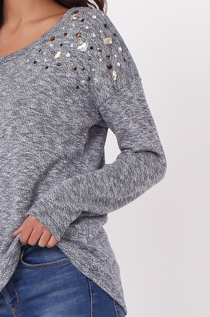 SN0391-NAVY RHINESTONE DETAIL JUMPER view 5