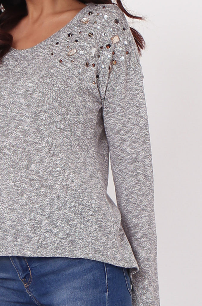 SN0391-GREY RHINESTONE DETAIL JUMPER view 5