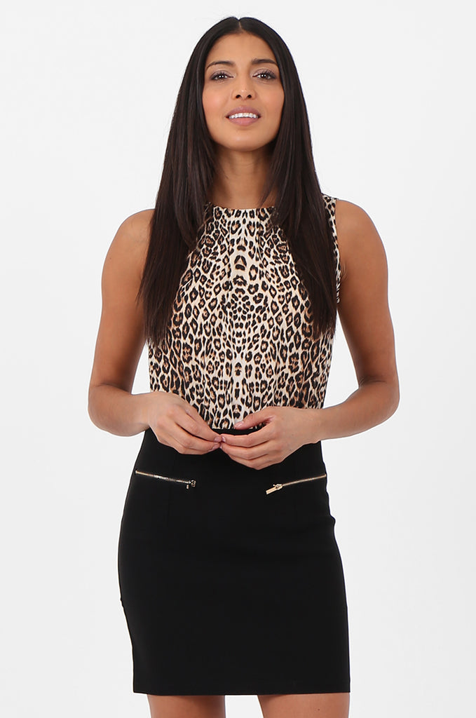 SN2369-BLACK & TAN LEOPARD PRINT SKIRT COMBO DRESS view 2