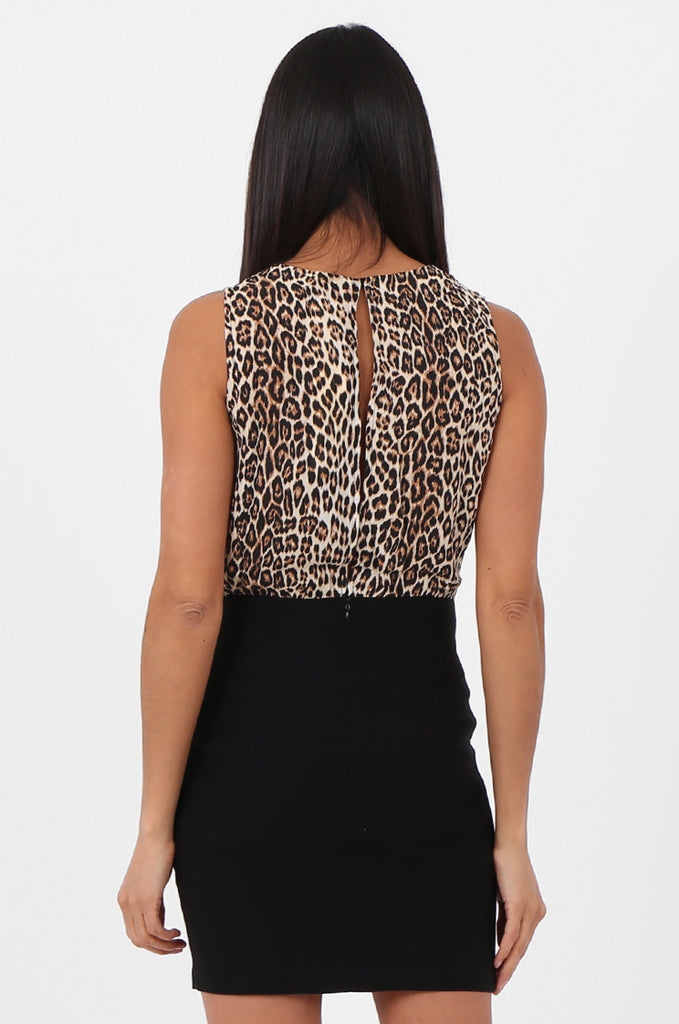 SN2369-BLACK & TAN LEOPARD PRINT SKIRT COMBO DRESS view 4