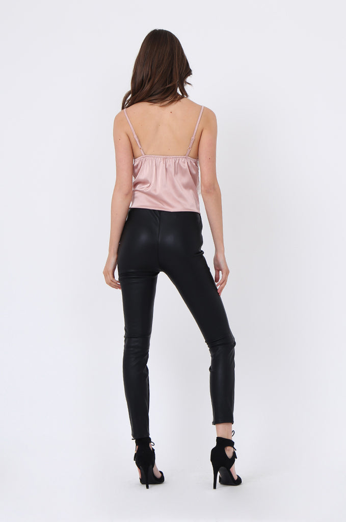 LEATHER LOOK STRETCH PANTS