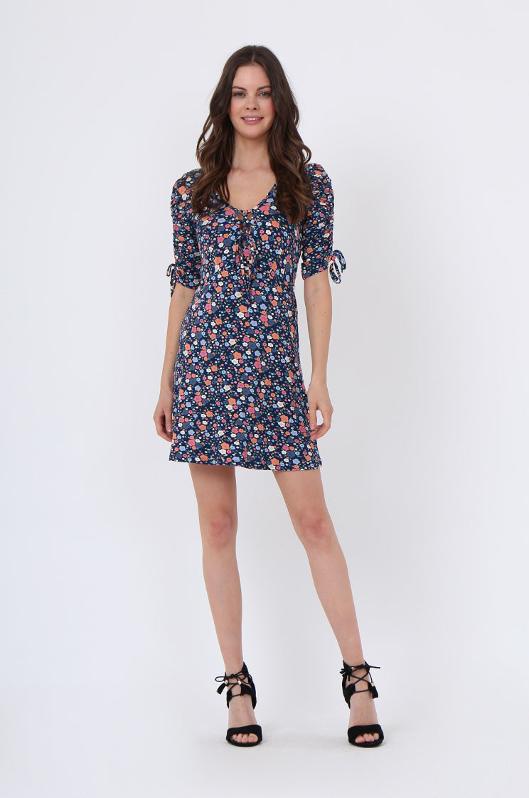 soy1058-navy floral lattice front dress - 18