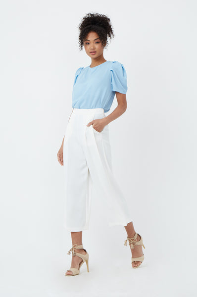 PLEAT FRONT CROP WIDE LEG TROUSER