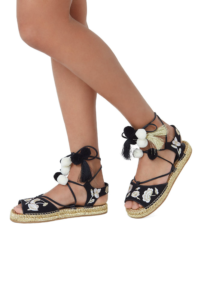 SOY1225-BLACK LACE UP EMBROIDED SANDAL