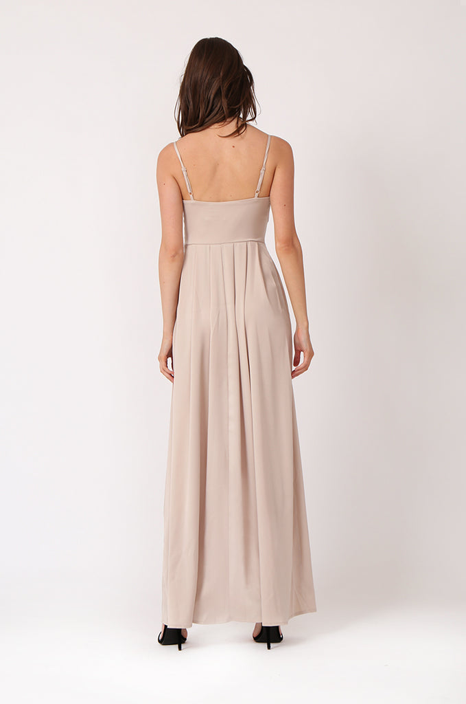 SIDE SLIT SATIN MAXI DRESS