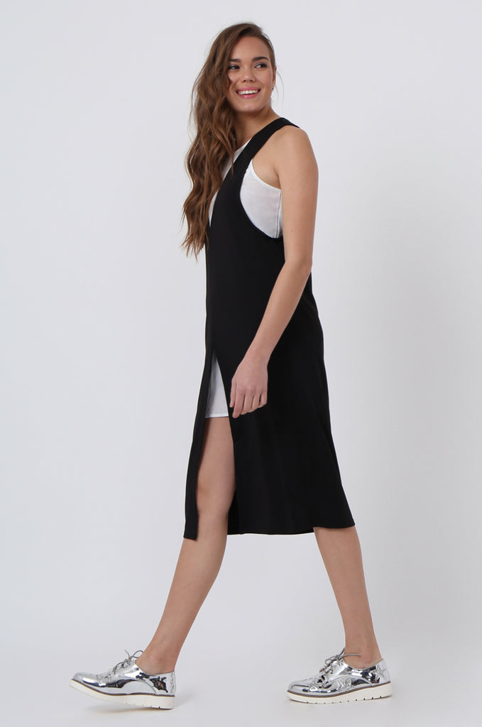 DOUBLE LAYER SPLIT FRONT DRESS
