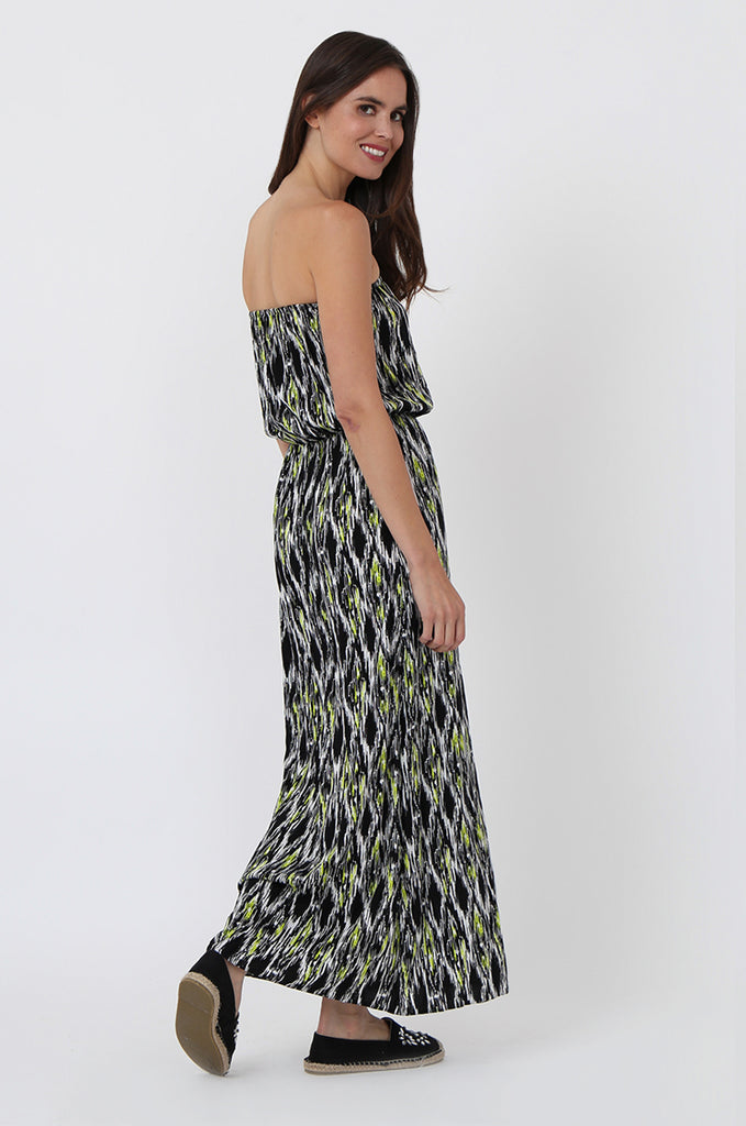 SOY1446-BLACK IKAT PRINT MAXI DRESS view 3