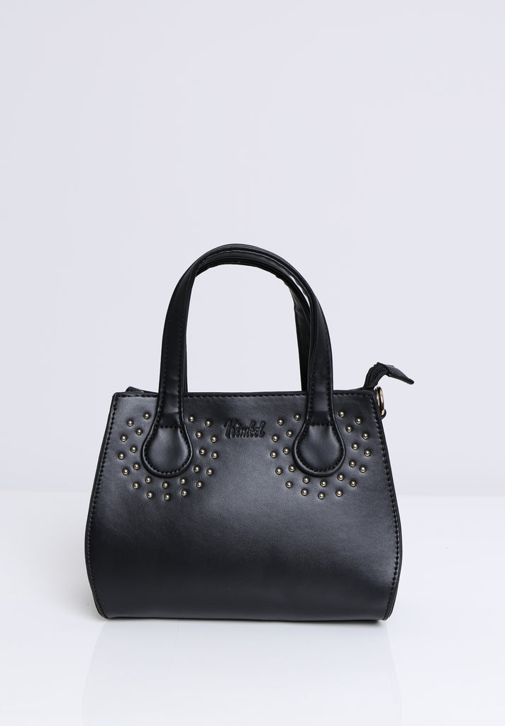 SOY1531-BLACK GOLD STUDDED BAG view main view