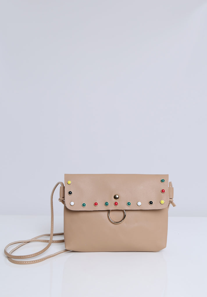 SOY1536-BEIGE COLOUR STUD CROSSBODY BAG