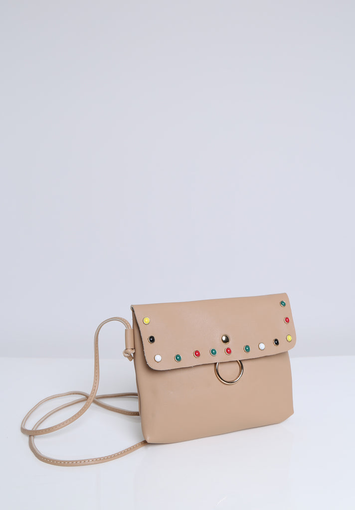SOY1536-BEIGE COLOUR STUD CROSSBODY BAG view 3
