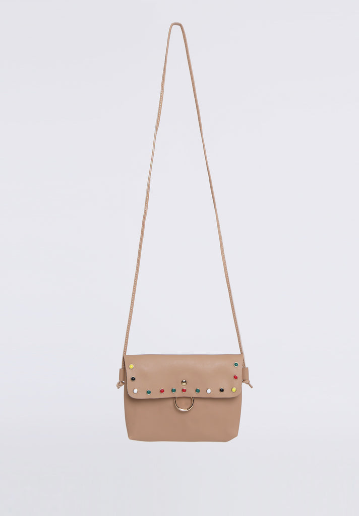 SOY1536-BEIGE COLOUR STUD CROSSBODY BAG view 2