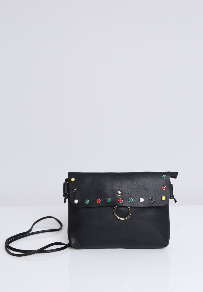 SOY1536-BLACK COLOUR STUD CROSSBODY BAG