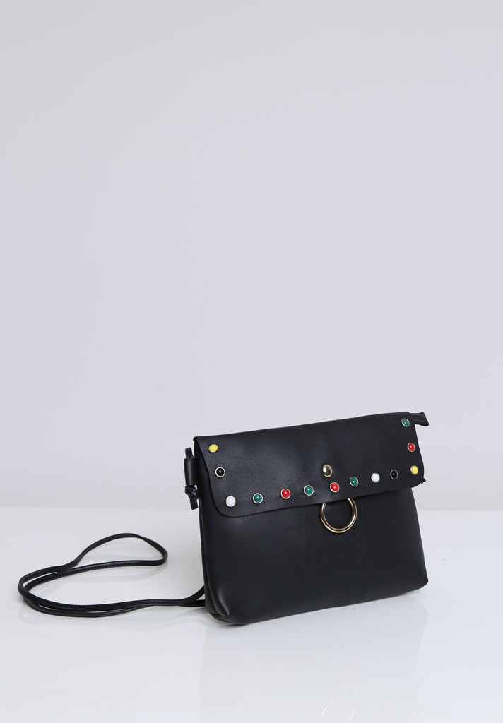 SOY1536-BLACK COLOUR STUD CROSSBODY BAG view 3