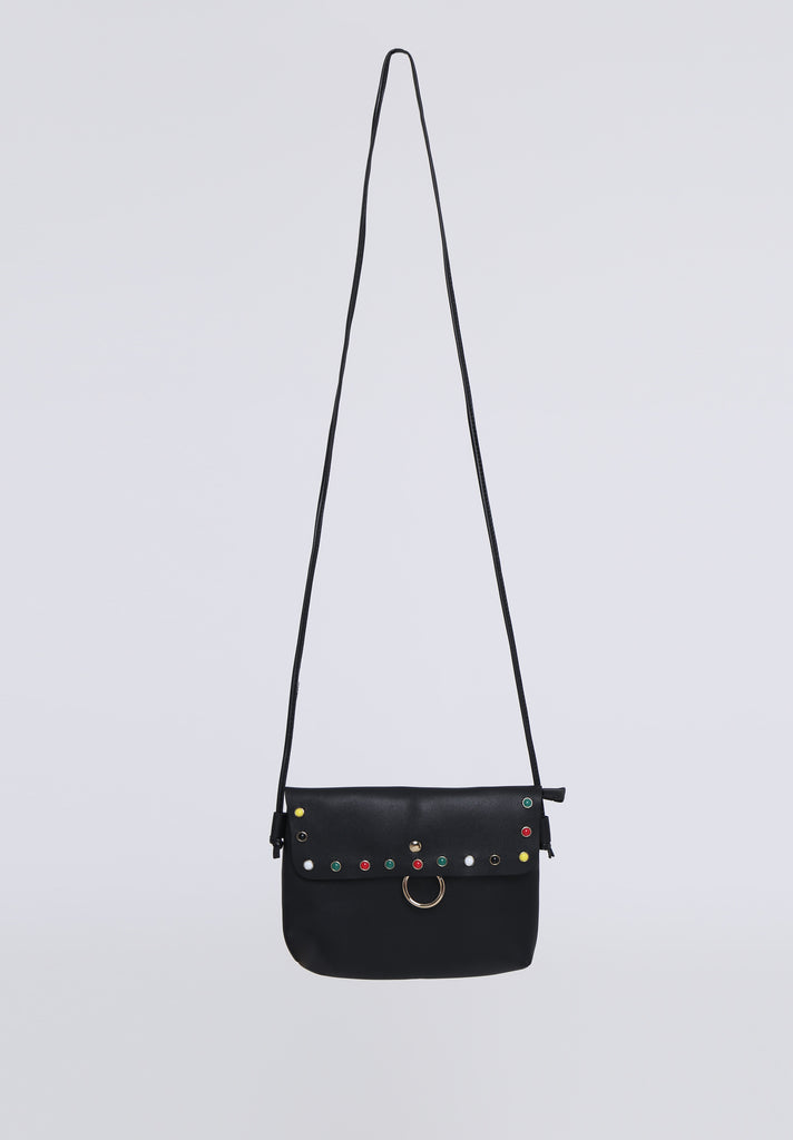 SOY1536-BLACK COLOUR STUD CROSSBODY BAG view 2