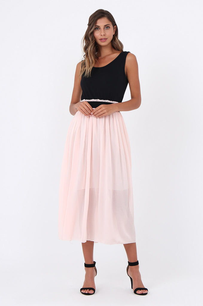 SOY1559-BABY PINK CONTRAST PLEATED MIDI DRESS