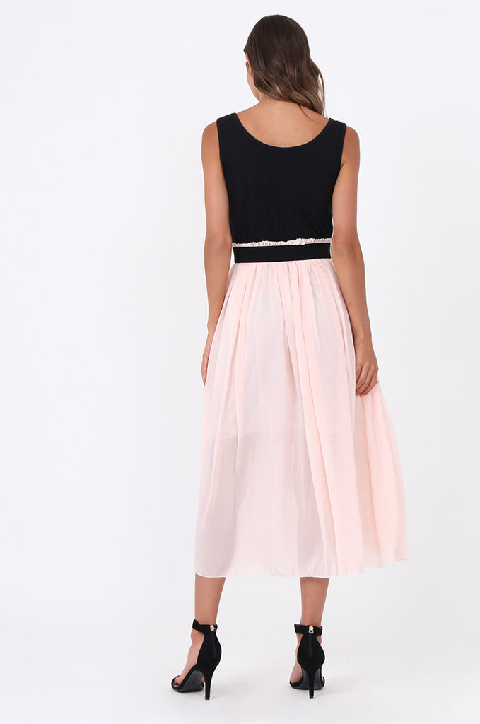 SOY1559-BABY PINK CONTRAST PLEATED MIDI DRESS view 3