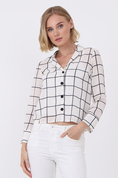 CHECK BUTTON FRONT BLOUSE
