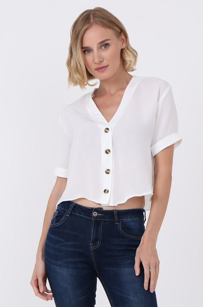 BUTTON FRONT CROPPED BLOUSE