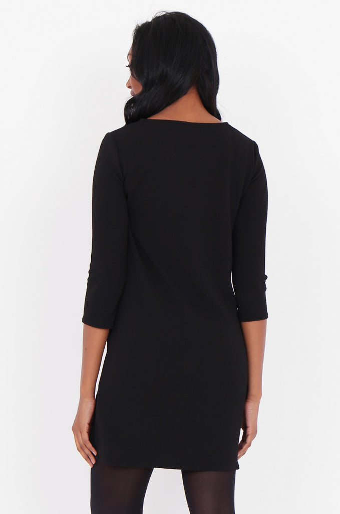 SOY1820-BLACK 3/4 SLEEVE STRETCH KEYHOLE CUT OUT DRESS view 4