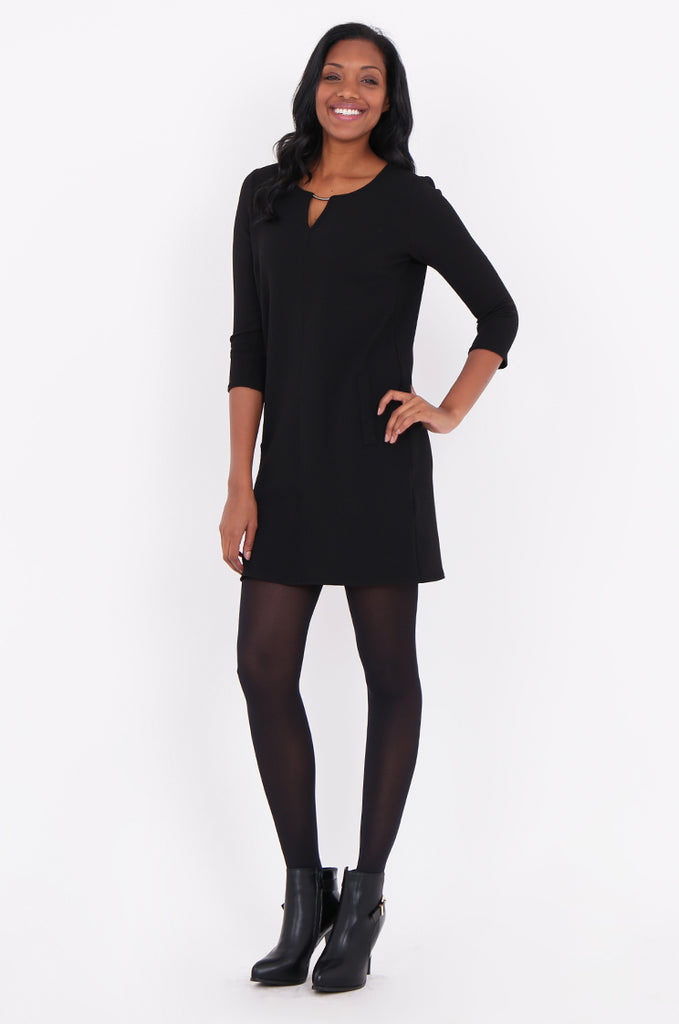 SOY1820-BLACK 3/4 SLEEVE STRETCH KEYHOLE CUT OUT DRESS