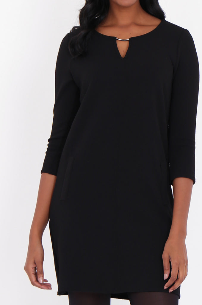 SOY1820-BLACK 3/4 SLEEVE STRETCH KEYHOLE CUT OUT DRESS view 5