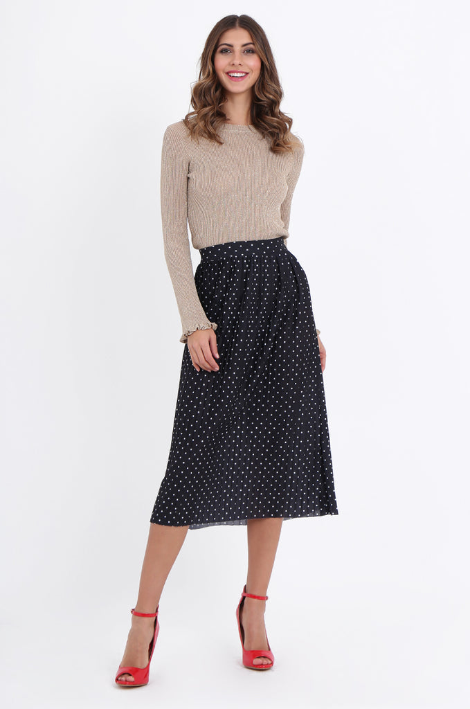 SOY1966-BLACK POLKA DOT PLEATED SKIRT view main view