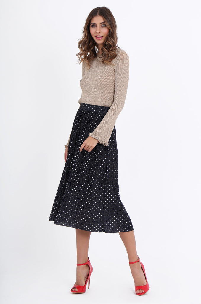 SOY1966-BLACK POLKA DOT PLEATED SKIRT view 2