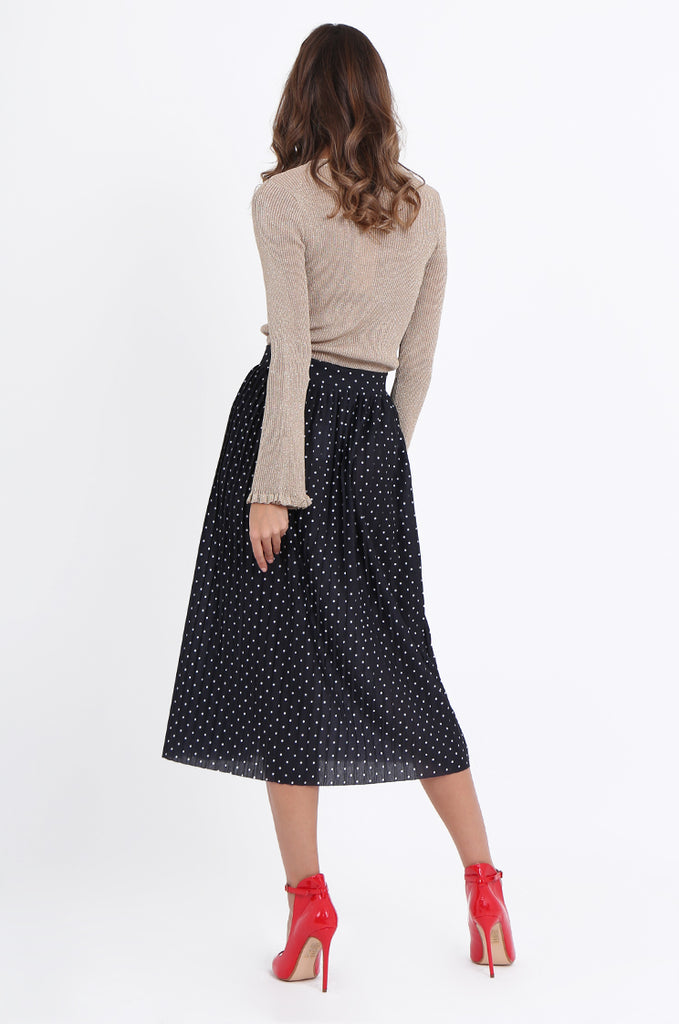 SOY1966-BLACK POLKA DOT PLEATED SKIRT view 3