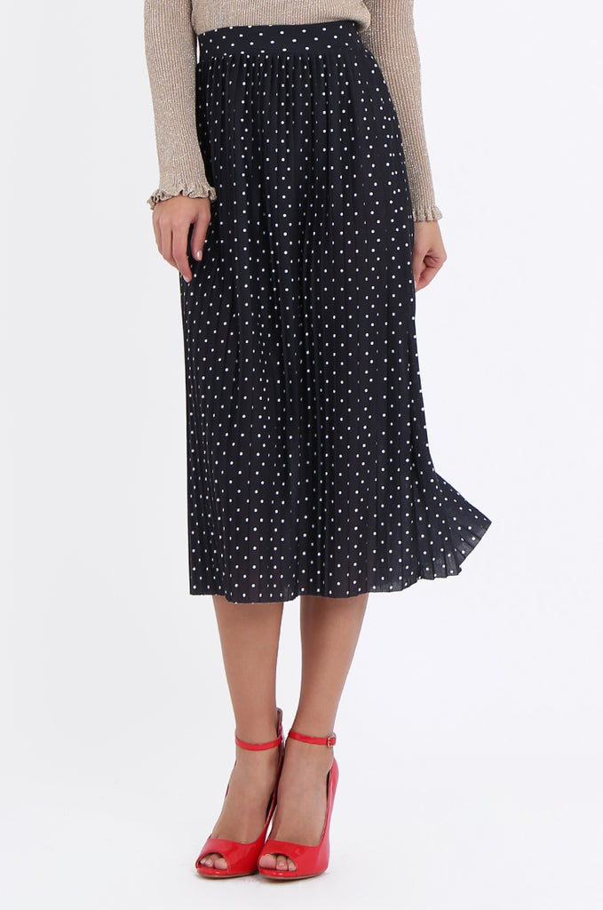 SOY1966-BLACK POLKA DOT PLEATED SKIRT view 4