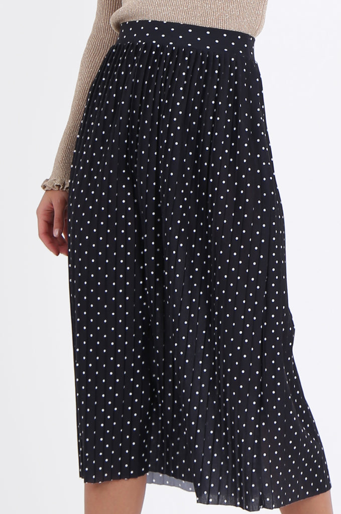 SOY1966-BLACK POLKA DOT PLEATED SKIRT view 5