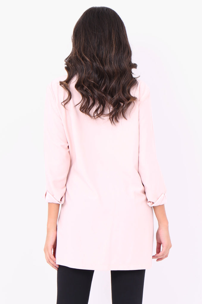 SOY2052-PINK CREPE SATIN COLLAR D-RING TIE SIDE JACKET view 3