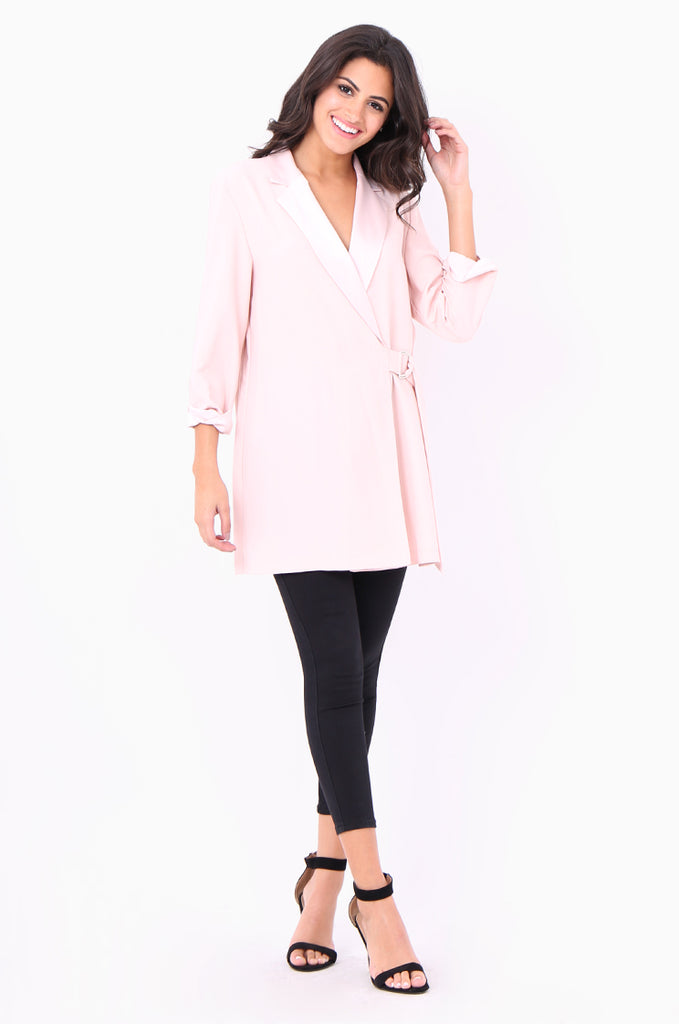 SOY2052-PINK CREPE SATIN COLLAR D-RING TIE SIDE JACKET view 4