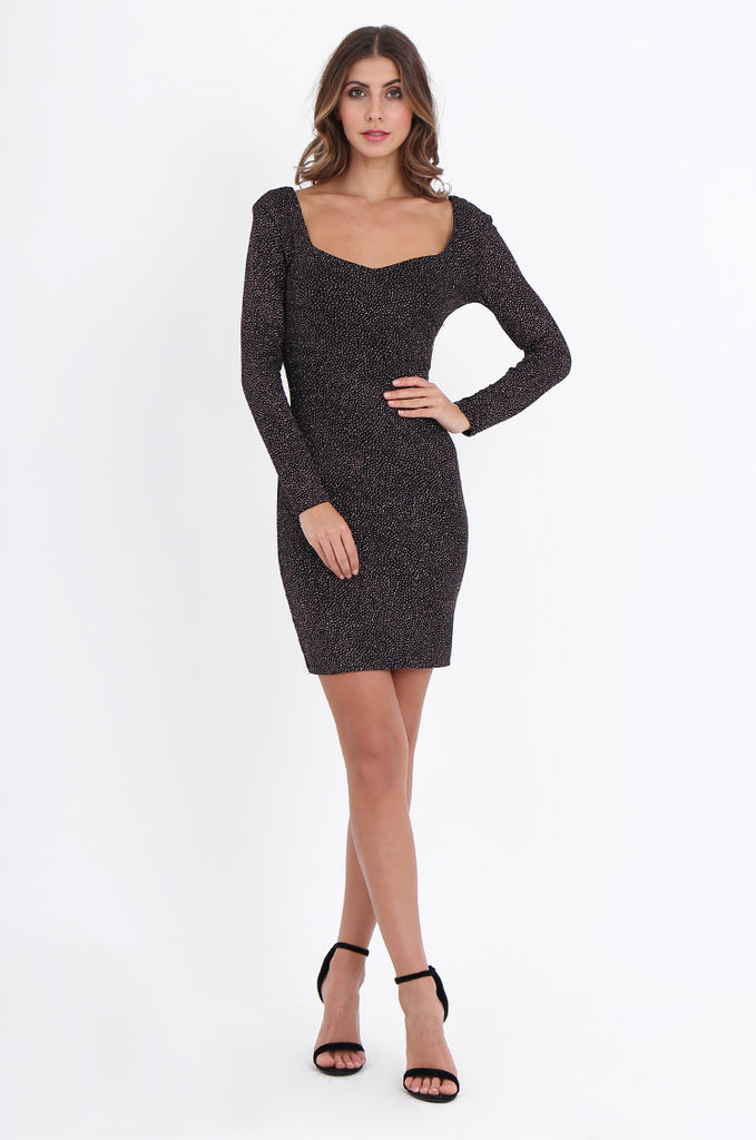 SOY2200-BLACK DEEP FRONT & BACK-V GLITTER DRESS view main view