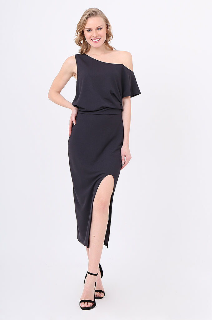 SOY2221-CHARCOAL GATHERED SIDE SPLIT FRONT DRESS