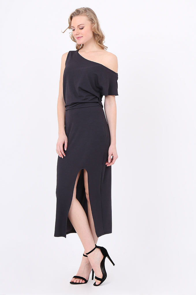 SOY2221-CHARCOAL GATHERED SIDE SPLIT FRONT DRESS view 2