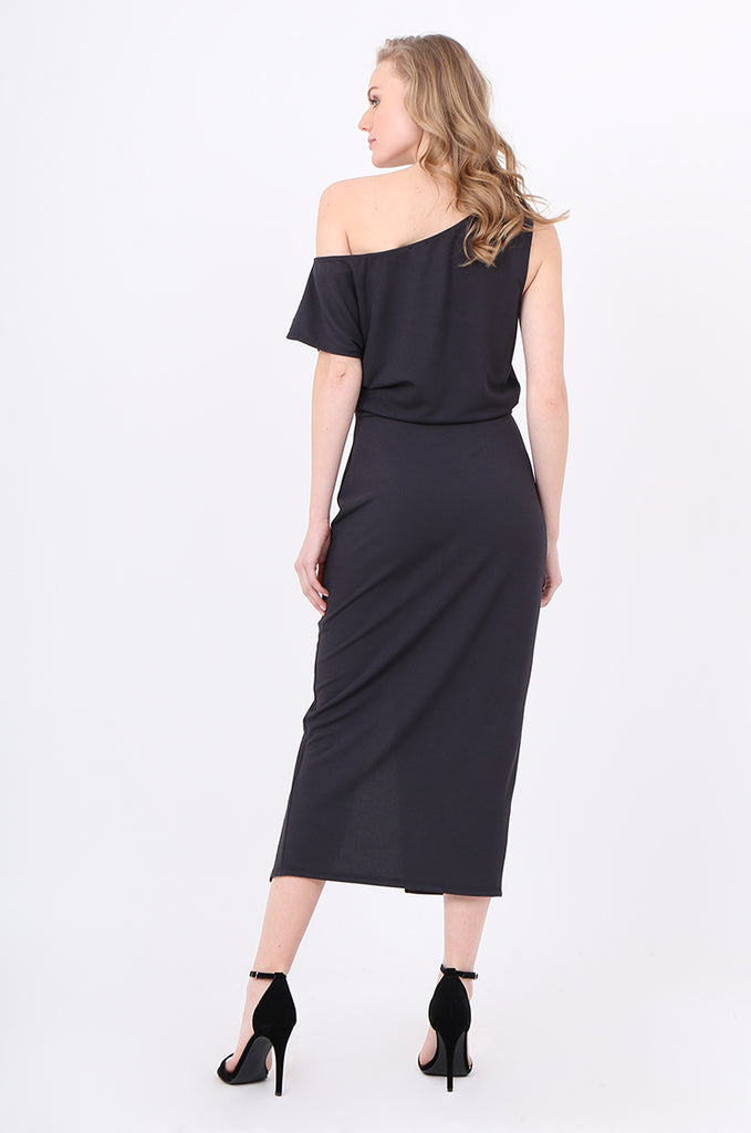 SOY2221-CHARCOAL GATHERED SIDE SPLIT FRONT DRESS view 3