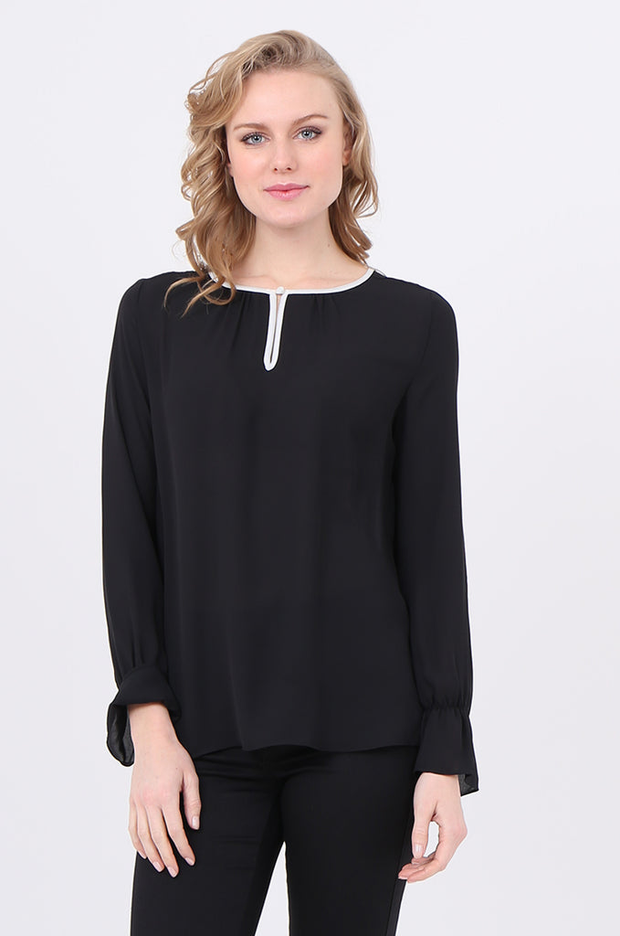 SOY2241-BLACK PIPING DETAIL BUTTON NECK BLOUSE