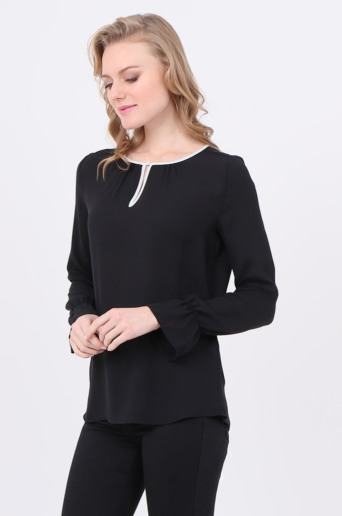 SOY2241-BLACK PIPING DETAIL BUTTON NECK BLOUSE view 2