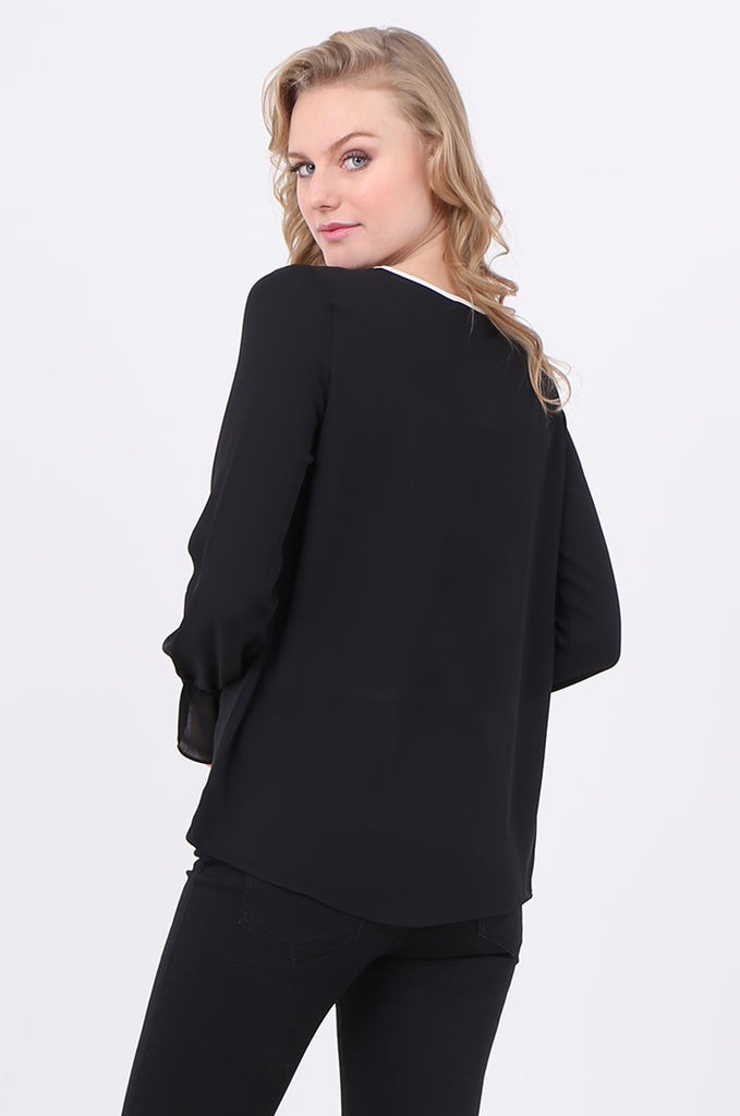 SOY2241-BLACK PIPING DETAIL BUTTON NECK BLOUSE view 3