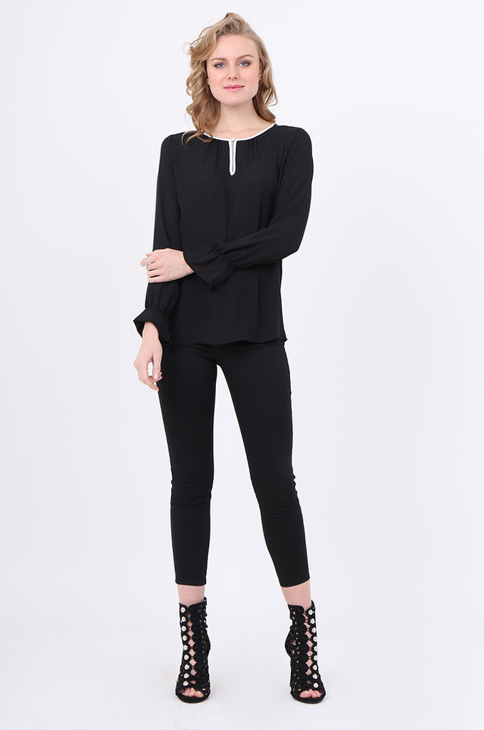 SOY2241-BLACK PIPING DETAIL BUTTON NECK BLOUSE view 4