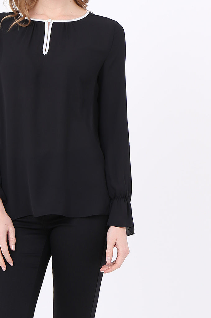 SOY2241-BLACK PIPING DETAIL BUTTON NECK BLOUSE view 5