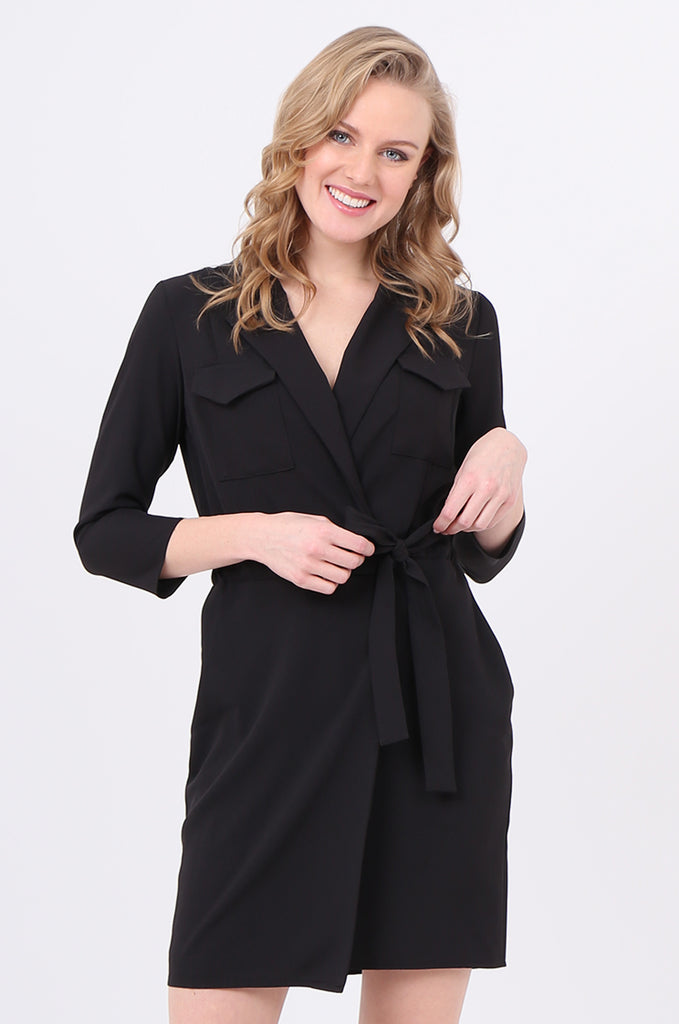 SOY2245-BLACK COLLARED TIE BELT WRAP DRESS view 2